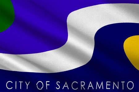 sierra nevada: Flag of Sacramento city in California state, United States. 3D illustration