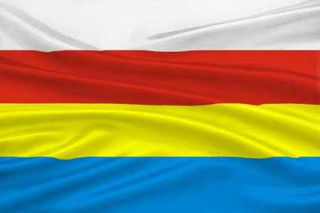 northeastern: Flag of Podlaskie Voivodeship in northeastern Poland. 3d illustration Stock Photo