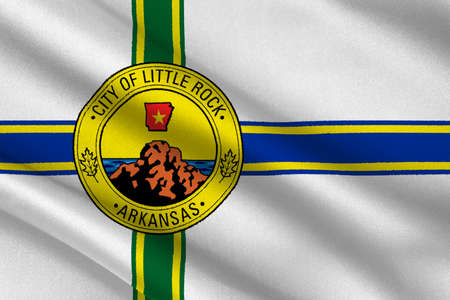 americana: Flag of Little Rock in Arkansas state of United States. 3D illustration Stock Photo