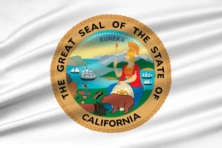 americana: Flag of California is the most populous state in United States. 3D illustration