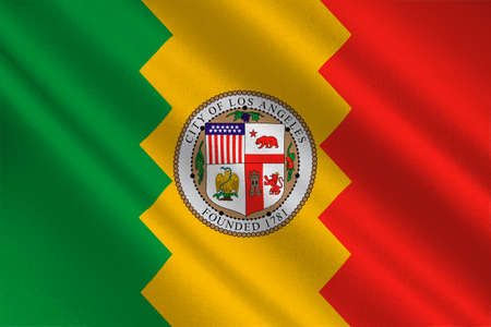 sierra nevada: Flag of Los Angeles city in California state, United States. 3D illustration