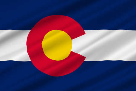 Flag of Colorado in United States. 3D illustration