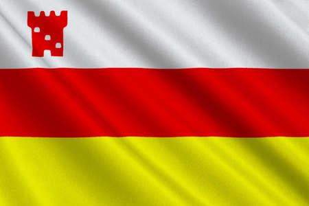 サンタ バーバラの旗は、アメリカ合衆国カリフォルニア州サンタバーバラ郡の郡庁所在地は。3 D イラストレーション