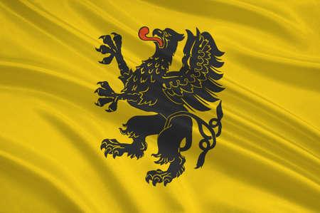 Flag of Pomeranian Voivodeship, Pomorskie Region or Pomerania Province in north-central Poland. 3d illustration