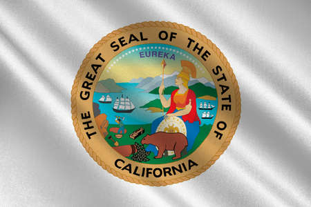 dorado: Flag of California is the most populous state in United States. 3D illustration