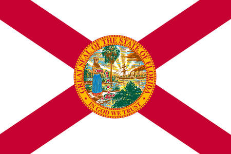 jacksonville: Flag of Florida is a state of United States. 3D illustration