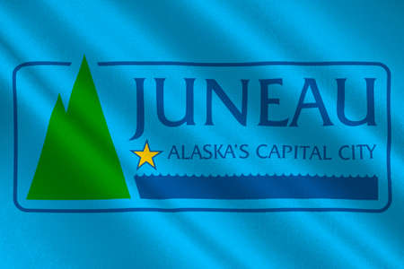 mainland: Flag of Juneau the capital of Alaska, United States. 3D illustration Stock Photo