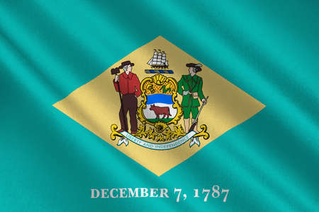 first nations: Flag of Delaware states of United States. 3D illustration