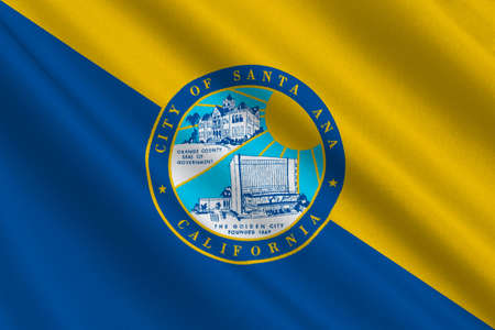 orange county: Flag of Santa Ana is the city in Orange County of California, United States. 3D illustration Stock Photo