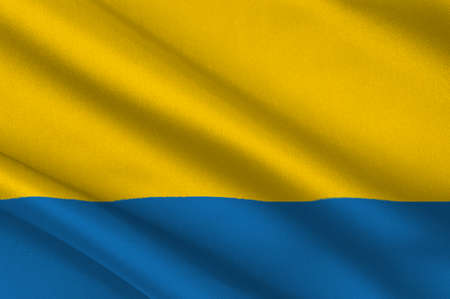 Flag of Opole Voivodeship or Opole Province in Poland. 3d illustration