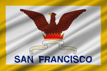 Flag of San Francisco of Northern California, United States. 3D illustration Stock Photo