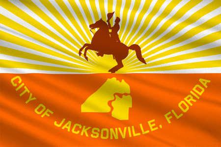 Flag of Jacksonville city in state of Florida, United States. 3D illustration