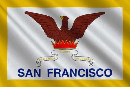 dorado: Flag of San Francisco of Northern California, United States. 3D illustration Stock Photo