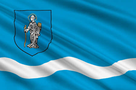 bandera de polonia: Flag of Olsztyn is the capital of the Warmian-Masurian Voivodeship in Poland. 3d illustration