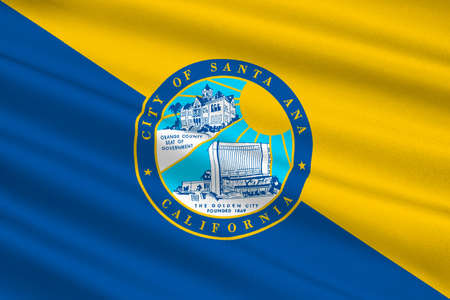 americana: Flag of Santa Ana is the city in Orange County of California, United States. 3D illustration Stock Photo