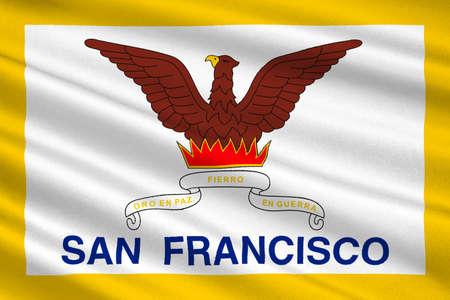 アメリカ合衆国カリフォルニア州北部、サンフランシスコの旗。3 D イラストレーション