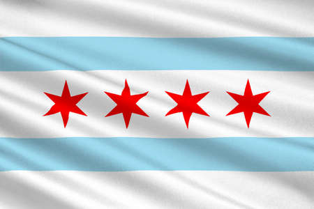 midwest: Flag of Chicago is the third most populous city in the United States. 3D illustration