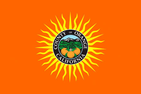 county: Flag of Orange County in California state, United States. 3D illustration