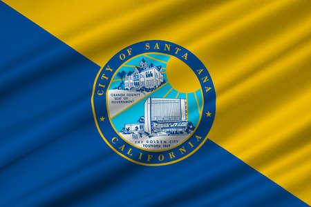 dorado: Flag of Santa Ana is the city in Orange County of California, United States. 3D illustration Stock Photo
