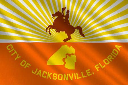 fl: Flag of Jacksonville city in state of Florida, United States. 3D illustration