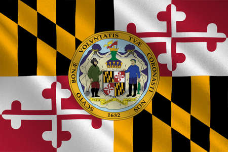maryland flag: Flag of Maryland is a state of United States. 3D illustration Stock Photo