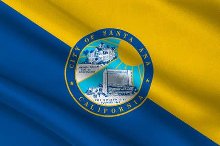 sierra nevada: Flag of Santa Ana is the city in Orange County of California, United States. 3D illustration Stock Photo