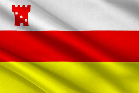 sierra nevada: Flag of Santa Barbara is the county seat of Santa Barbara County in state of California, United States. 3D illustration