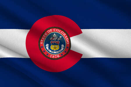 fort collins: Flag of Colorado in United States. 3D illustration