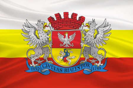 northeastern: Flag of Bialystok in Podlaskie Voivodeship in northeastern Poland. 3d illustration