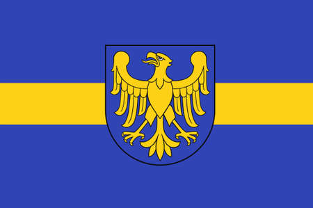 Flag of Silesian Voivodeship or Silesia Province in southern Poland. 3d illustration