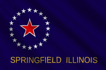 midwest: Flag of Springfield is the capital of Illinois state in United States. 3D illustration