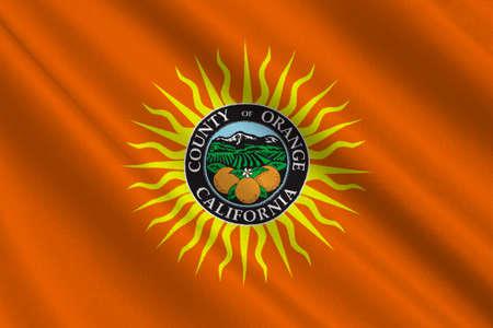 sierra nevada: Flag of Orange County in California state, United States. 3D illustration
