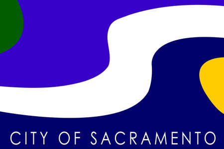 sac: Flag of Sacramento city in California state, United States. 3D illustration