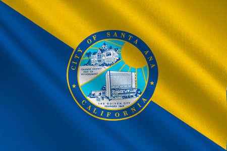 サンタ ・ アナの旗は、オレンジ郡のカリフォルニア州、アメリカ合衆国の都市です。3 D イラストレーション 写真素材
