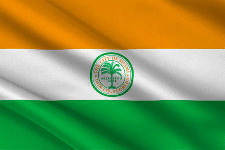 Flag of Miami is a city of Florida, United States. 3D illustration