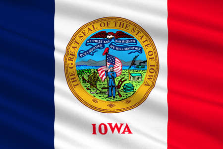 symbolize: Flag of Iowa state of United States. 3D illustration Stock Photo
