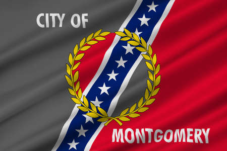 Flag of Montgomery is the capital city of Alabama, United States. 3D illustration Stock Photo