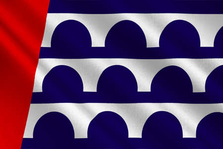 symbolize: Flag of Des Moines is the capital of Iowa state, United States. 3D illustration