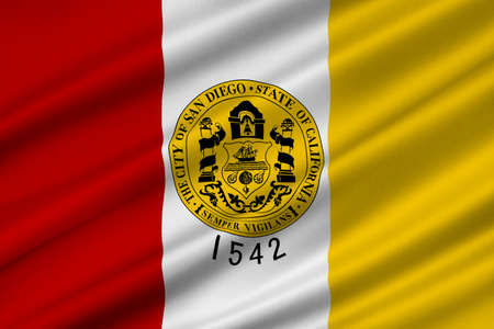 Flag of San Diego is a major city in California, United States. 3D illustration