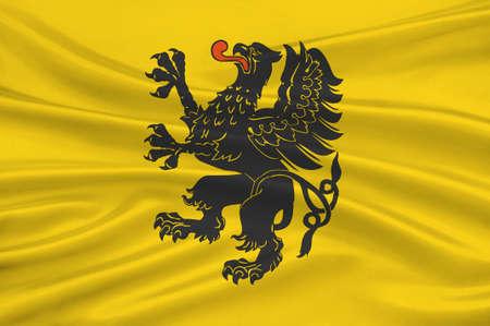 gdansk: Flag of Pomeranian Voivodeship, Pomorskie Region or Pomerania Province in north-central Poland. 3d illustration