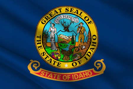 northwestern: Flag of Idaho state in the northwestern region of the United States. 3D illustration