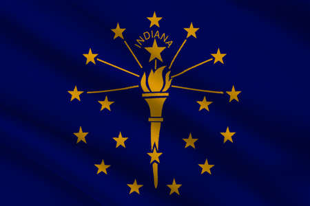 Flag of Indiana is a state in United States. 3D illustration