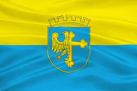 bandera de polonia: Flag of Opole city in Opole Voivodeship or Opole Province in Poland. 3d illustration Foto de archivo
