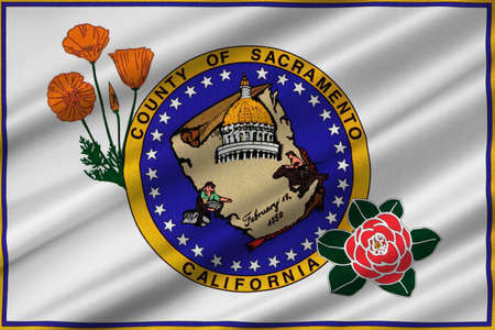 Flag of Sacramento County in California state, United States. 3D illustration