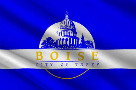 Flag of Boise is the capital city of Idaho state, United States. 3D illustration