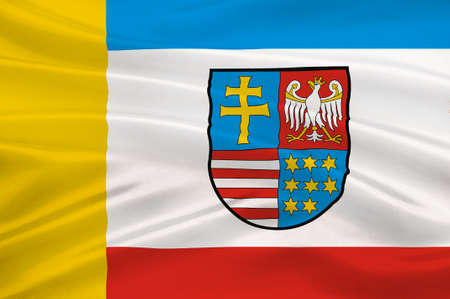 gdansk: Flag of Swietokrzyskie Voivodeship, Swietokrzyskie Province or Holy Cross Province  in central Poland. 3d illustration Stock Photo