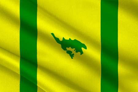 bandera de puerto rico: Bandera de Isla Culebra (Snake Island) es una isla-municipio de Puerto Rico, Estados Unidos. ilustración 3D