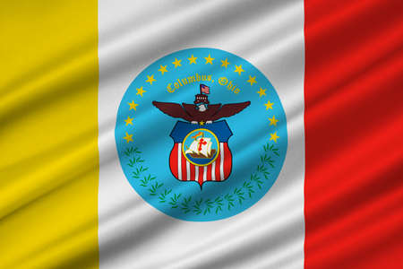 Flag of Columbus is the capital city of Ohio state, United States. 3D illustration