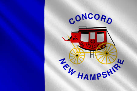 Flag of Concord is the capital city of New Hampshire, United States. 3D illustration Stock Photo