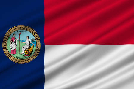 americana: Flag of North Carolina is a state in the southeastern region of the United States. 3D illustration